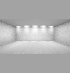 empty room with white brick walls in studio vector image