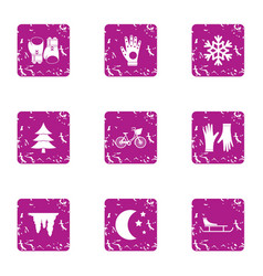 Evening stroll icons set grunge style vector