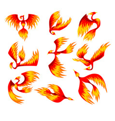 Flaming phoenix bird set fairy tale character vector