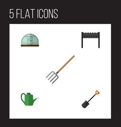 Flat icon farm set of spade bailer hay fork and vector