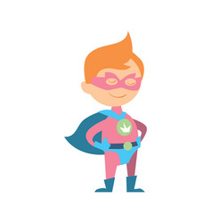 funny kid in superman costume vector image
