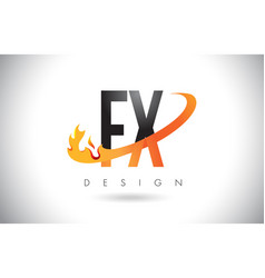 Fx f x letter logo with fire flames design and vector
