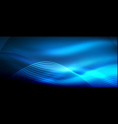 Glowing blue abstract wave on dark shiny motion vector