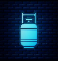 Glowing neon propane gas tank icon isolated on vector