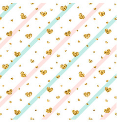 gold heart seamless pattern blue-pink-white vector image