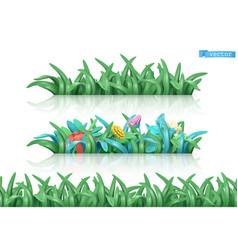 grass and flowers cartoon 3d seamless pattern vector image