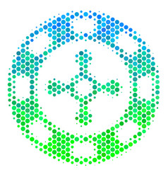 Halftone blue-green roulette casino chip icon vector