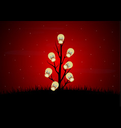 halloween blood eyeball skull dead dry tree vector image