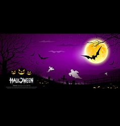 Halloween ghost scary purple background vector image