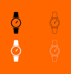Hand watch black and white set icon vector
