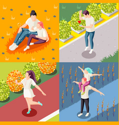 happy people isometric concept vector image