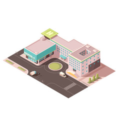 Hospital isometric mockup vector