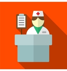 Hospital reception desk flat icon vector