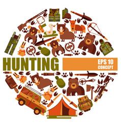 hunting equipment round patterns vector image