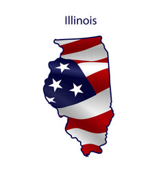 Illinois full american flag waving in wind vector