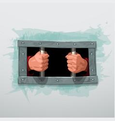 Imprisoned hands behind metal bars on white vector