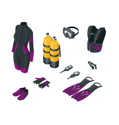 Isometricscuba gear and accessories equipment for vector