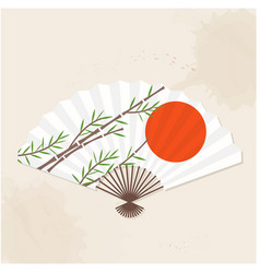 japanese fan sun bamboo painting image vector image