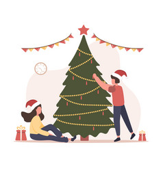 joyful family decorate christmas tree happy new vector image
