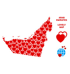 love arab emirates map collage of hearts vector image