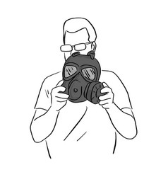 man holding dark gas mask sketch vector image