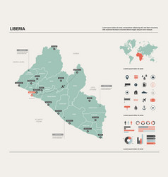 Map liberia high detailed country vector