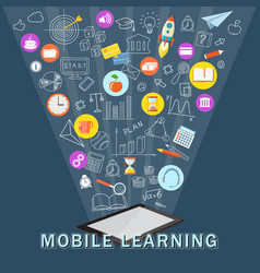 Mobile learning with tablet vector
