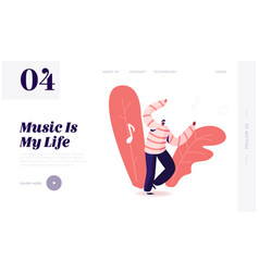 mobile music application website landing page vector image
