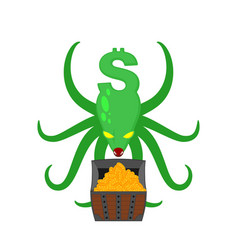 Monster dollar protects chest of bitcoins money vector