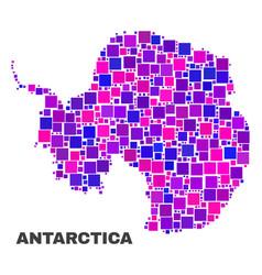 Mosaic antarctica continent map of square items vector