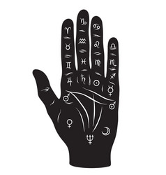 Palmistry or chiromancy hand with zodiac signs vector