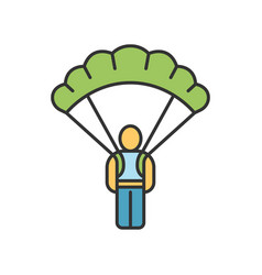 Parachute skydiver color icon virtual video game vector