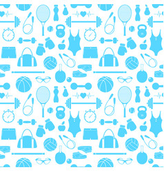 Pattern with fitness equipment vector