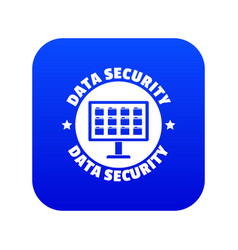 Pc data security icon blue vector