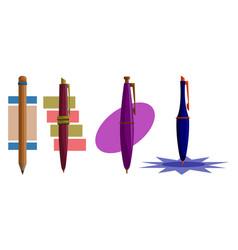pencil pen design template set vector image