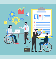 people in disabled carriage hospital icon vector image