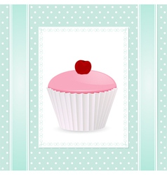 pink cherry cupcake vector image