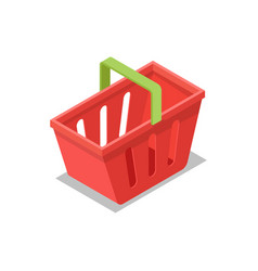 Plastic shopping basket isometric 3d icon vector