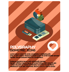 polygraphy color isometric poster vector image