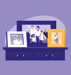 Portrait with family members picture in drawer vector