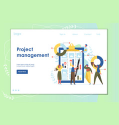 project management website landing page vector image
