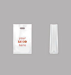 Realistic white plastic bag with handle vector