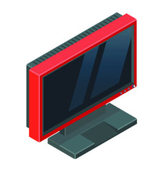 red gaming monitor with reflections on screen vector image