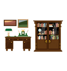 retro abinet with workspace and wooden furniture vector image