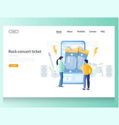 rock concert ticket website landing page vector image