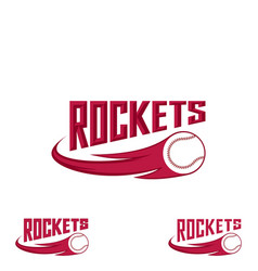 rocket baseball logo for team and cup vector image