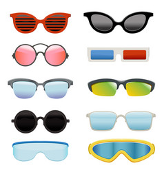 Set different sun glasses vector