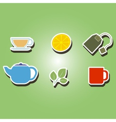 set of color icons with accessories for tea vector image