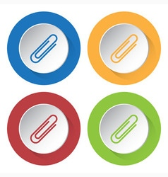 set of four icons - paper clip vector image