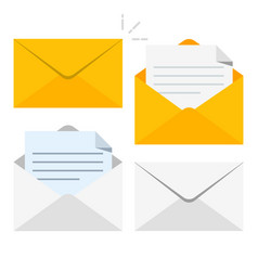 set of icons with a picture of a closed letter vector image